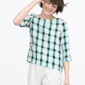 Zara Basic Plaid Blouse Front Patch Pockets